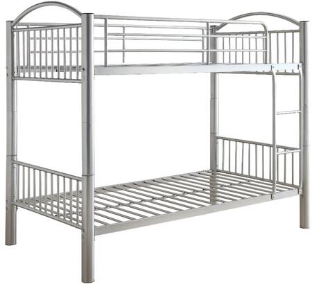 Cayelynn Collection 37385SI Twin Over Twin Size Bed with Built-in Front Ladder  Easy Access Guard-Rail  Slatted Panels  Slat System Included and Metal Tube