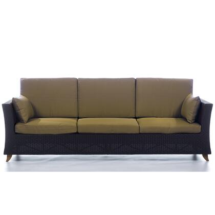 PR90-K 92 inch  Rattan Deep Seating Sofa with Solid Teak Legs  Heavy-Gauge Aluminum Frame and Water Resistant Polyester Fabric Cushion in