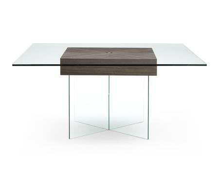 DT1396WLT Roxana Dining Table  Clear Glass Top And Clear Glass Base With Walnut Veneer