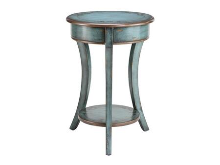 12093 Freya Curved Legs Round Accent Table with Storage Shelf  Hand-painted Turquoise and Bronze