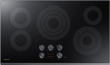 """NZ36K6430RG 36"""" Electric Cooktop with 5 Elements  Rapid Boil Element  Illuminated Knobs and Wifi  in Black Stainless"""
