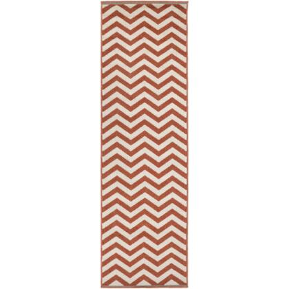 Alfresco ALF9647-2379 2'3 inch  x 7'9 inch  Rectangular 100% Polypropylene Rug with Low Pile  Loop Texture  and Machine Made in Egypt in Cherry and