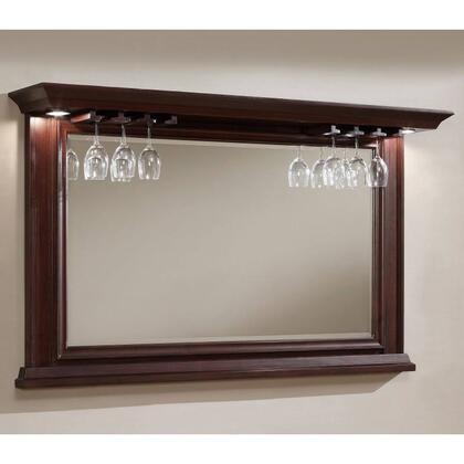 100842NAV Riviera Series Mirror with Glass Stemware Holders  Beveled Edge Mirror and Impressive Backlighting:
