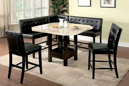 Bahamas CM3427PT-SET 6-Piece Counter Height Dining Set with Table + 2 Chairs + 2 Two-Seaters + Corner Chair in