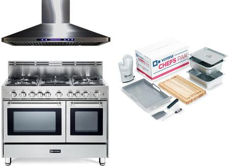 3-Piece Stainless Steel Kitchen Package with VEFSGG365NDSS 36 inch  Freestanding Gas Range  VEHOOD36CH 36 inch  Wall Mount Ducted Hood  and Chefs