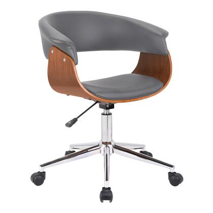 Bellevue Collection LCBVOFCHWAGR Office Chair with Adjustable Height  Casters  Swivel Seat  Chrome Base  Walnut Veneer Material and Faux Leather Upholstery in