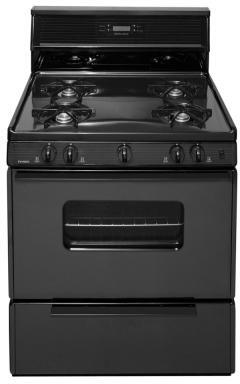 SFK240BP  30 inch  Freestanding Gas Range with 3.9 Cu. Ft. Oven Capacity  Four Cooktop Burners  Lift Up Top and 10 inch  Tempered Black Glass Backguard with Electronic