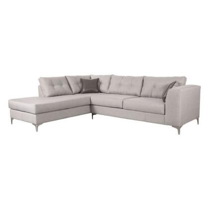 100246 Memphis Sectional Sofa with Left Arm Facing  Polished Stainless Steel Legs  and Fabric Upholstery in Smoke