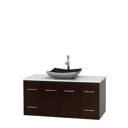 WCVW00948SESWSGS1MXX 48 in. Single Bathroom Vanity in Espresso  White Man-Made Stone Countertop  Altair Black Granite Sink  and No