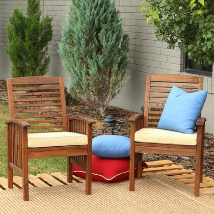 OWC2DB Dark Brown Acacia Patio Chairs with Cushions (Set of