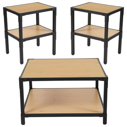 Holmby Collection NAN-CEK-32-GG 3 Piece Coffee And End Table Set In Knotted Pine Wood Grain Finish And Black Metal