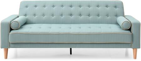 Navi Collection G833AS 82 inch  Sleeper Sofa with 2 Bolster Pillows  Tapered Wood Legs  Track Arms  Button Tufted Cushions  Heavy Duty Springs and Fabric Upholstery