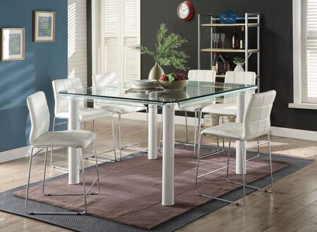 Gordie Collection 702504 7 PC Bar Table Set with Glass Top Counter Height Table and 6 PU Leather Upholstered Counter Height Chairs in White