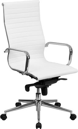 BT-9826H-WH-GG High Back White Ribbed Upholstered Leather Executive Office