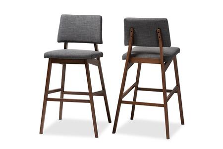 Colton-Dark Grey-BS Baxton Studio Colton Mid-Century Modern Dark Gray Fabric Upholstered and Walnut-Finished Wood Bar