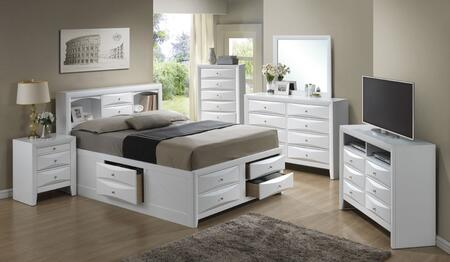 G1570gksb3set 6 Pc Bedroom Se With King Size Storage Bed + Dresser + Mirror + Chest + Nightstand + Media Chest In White