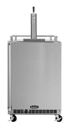 "60HKSSXBLR 24"" Outdoor Built In Draft Beer Dispenser with 6.54 Cu. ft. Storage Capacity (Stores Half  Quarter or 2(1/6) Barrel Kegs)  Single Tap  Casters  Left"
