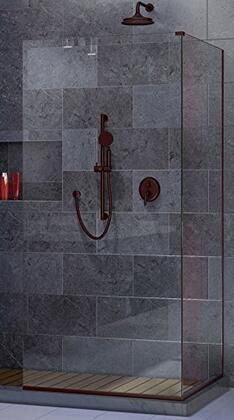 SHDR-3234303-06 Linea Frameless Shower Door. Two Attached Glass Panels: 30 in. x 72 in. and 34 in. x 72 in. Oil Rubbed