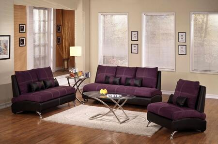 Jolie 51750SLC 3 PC Living Room Set with Sofa + Loveseat + Armchair in Purple