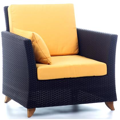 PR30-Y 33 inch  Rattan Deep Seating Arm Chair with Solid Teak Legs  Heavy-Gauge Aluminum Frame and Water Resistant Polyester Fabric Cushion in