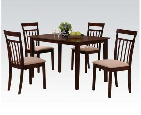 Samuel Collection 70325 5 PC Dining Room Set with Rectangular Table  4 Side Chairs  Microfiber Upholstery  Tapered Legs and Okume Veneer Materials in Espresso
