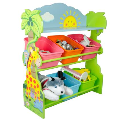 TD12242A Sunny Safari Animals Hand Crafted Kids Wooden Toy Organizer with Storage