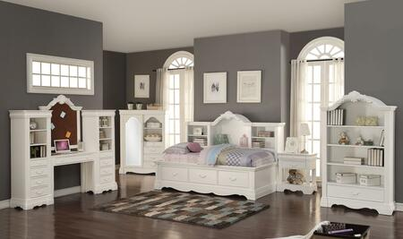 Estrella 39150SET 6 PC Bedroom Set with Daybed + Nightstand + Corkboard Frame + Desk + Wardrobe + Bookcase in White