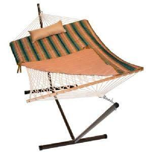 8916STRIPE 144 inch  Cotton Rope Hammock  Stand  Pad and Pillow Combination in