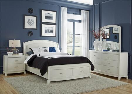 Avalon II Collection 205-BR-KSBDMN 4-Piece Bedroom Set with King Storage Bed  Dresser  Mirror and Night Stand in White Truffle