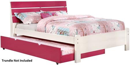 Kimmel Collection CM7626PK-F-BED Full Size Platform Bed with Slatted Headboard  Solid Wood and Wood Veneers Construction in White and Pink