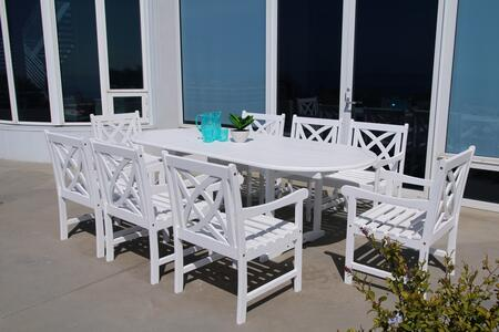 V1335SET12 Bradley Outdoor 9-Piece Wood Patio Dining Set With Extension Table In