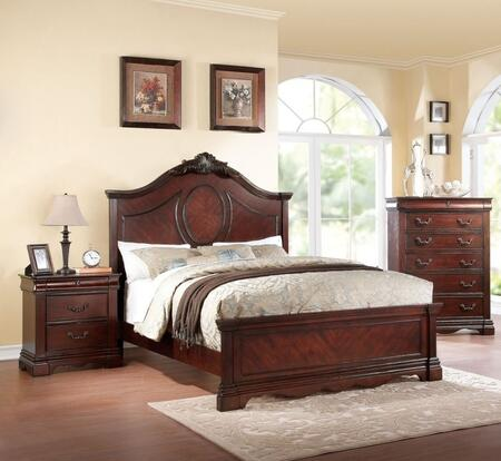 Estrella Collection 20724CK3SET 3 PC Bedroom Set with California King Size Bed  Chest and Nightstand in Dark Cherry