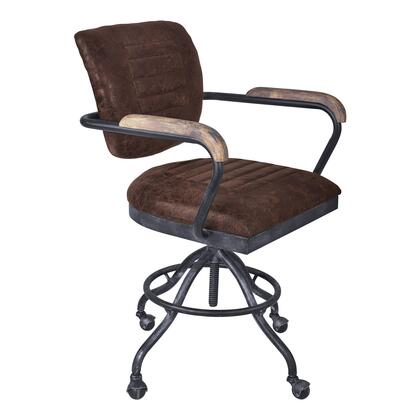 Brice Collection LCBIOFSBBR Modern Office Chair in Industrial Grey Finish and Brown Fabric with Pine Wood