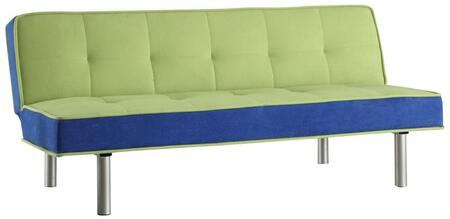 Hailey Collection 57135 66 inch  Adjustable Sofa with Chrome Metal Legs  Converts to Bed  Wooden Frame Construction and Flannel Fabric Upholstery in Green and Blue