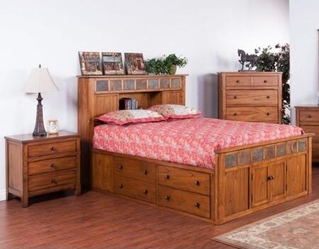 Sedona Collection 2334rosqbbedroomset 2-piece Bedroom Set With Storage Queen Bed And Nightstand In Rustic Oak