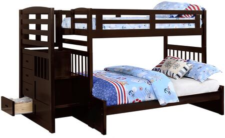 Dublin Collection 460366 Twin over Full Size Bunk Bed with Built-In Stairway  4 Drawer Chest  Full Length Guardrails  Slat Kits Included  Pine and MDF