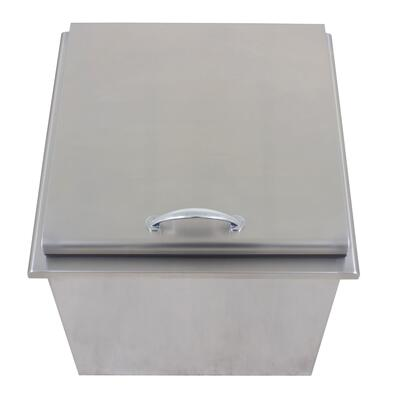 BLZ-ICEB-WH 22 inch  Ice Bin Wine Chiller with Stainless Steel Construction  Drain Included and Hydraulic-Like Bracket for Holding the Lid and Soft