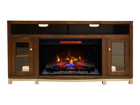 26MM94667-MCH Gramercy Electric Fireplace with 3-Way Adjustabled Concealed Euro Hinges  Realistic LED Lighting and Tiered Molding Mantel Top in Chocolate