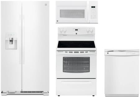 4-Piece White Kitchen Package with 51112 Side-by-Side Refrigerator  93012 Freestanding Electric Range  80322 Over-the-Range Microwave and 17382 Full Console