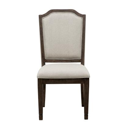 S024154 Hamilton Upholstered Side Chair with Fabric Upholstered Seat and Back  Distressed Detailing  Piped Stitching and Tapered Legs in