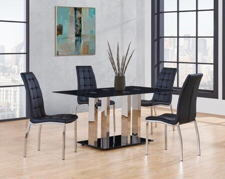 D252DT4D716DC 5-Piece Dining Room Set with Dining Table and 4 Dining Chairs in Black and