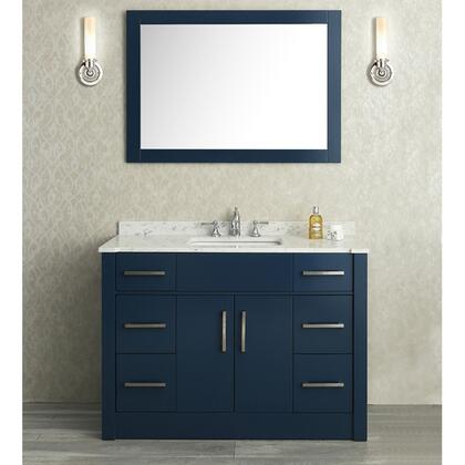 SCRAD48SMB Seacliff by ARIEL Radcliff 48 inch  Single Sink Vanity Set with Quartz Countertop and Simple pulls in Midnight