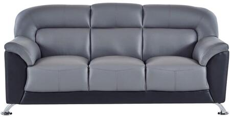 U9102DGRBLSOFA 74 inch  Sofa with Plush Padded Arms  Stainless Steel Legs and Stitched Detailing in Dark Grey and Black