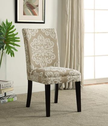 773021 20 inch  Itaki Parsons Chair with Flair in Fabric Pattern  Flared Back and Solid Wood Espresso Legs in Taupe and