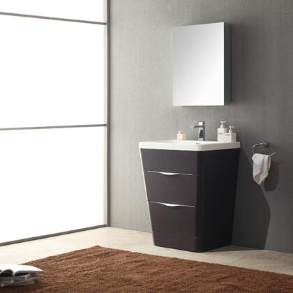 Milano Collection Fvn8525cn 26 Modern Bathroom Vanity With Medicine Cabinet  2 Soft Closing Drawers And Integrated Acrylic Countertop And Sink In