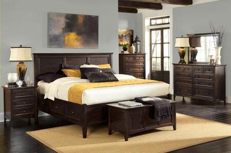 Westlake WSLDM5094 4-Piece Bedroom Set with Queen Storage Bed  Dresser  Mirror and Single Nightstand in Dark Mahogany