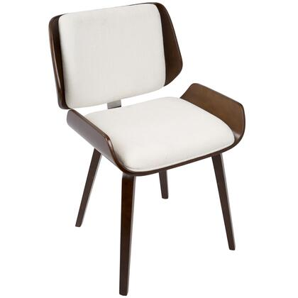 CH-SNT CH+W2 Santi Mid-Century Modern Dining/Accent Chair in Cherry with White Fabric - Set of