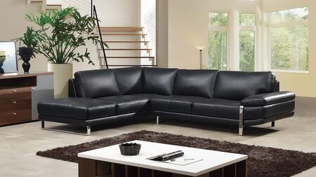 EK-L025 Collection EK-L025R-BK 2-Piece Sectional Sofa with Left Arm Facing Chaise and Right Arm Facing Sofa in