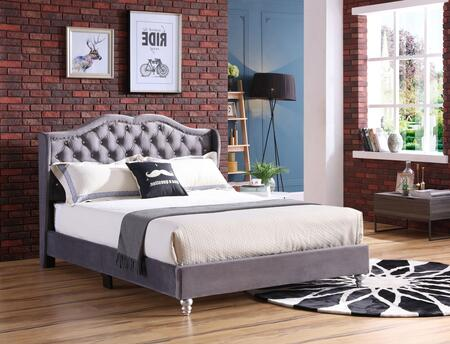 G1931-FB-UP Joy Collection Full Size Upholstered Bed with Button Tufting Details  Velvet Fabric  Turned Legs  and Nail Head Accents  in