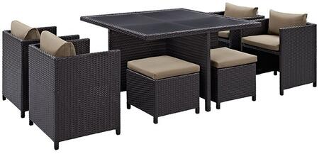 Inverse Collection EEI726EXPMOC 9 PC Outdoor Patio Dining Set with 4 Chairs  4 Stools  Tempered Glass Top Table and All-Weather Rattan Construction in Espresso